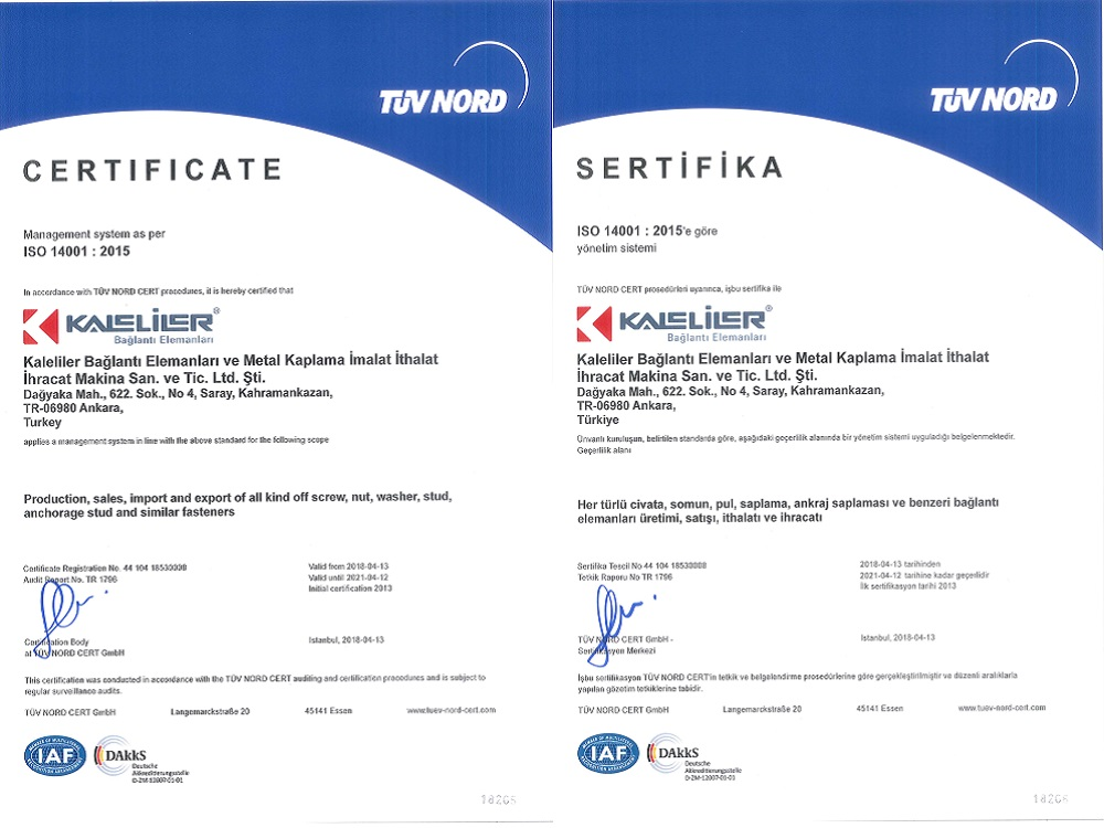 ISO 14001:2015 (TUV NORD)