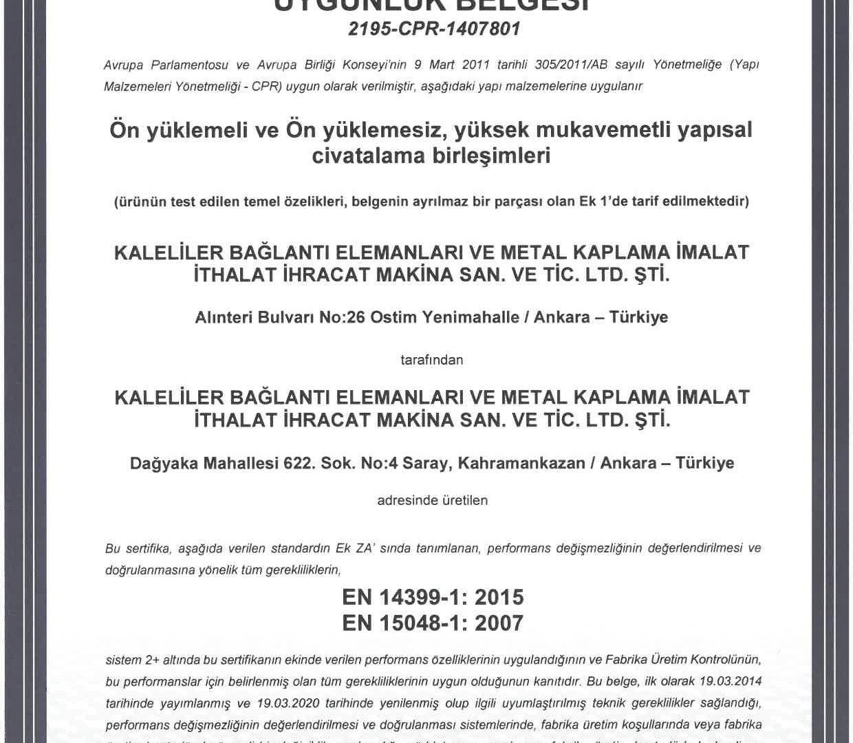 Kaleliler EN 14399-1, EN 15048-1 FÜK Uygunluk Belgeleri-2020